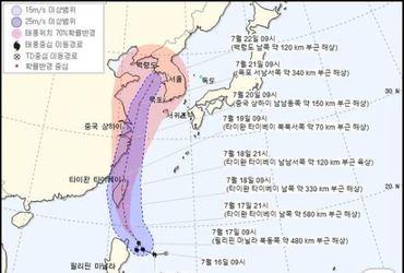 """태풍 다나스 영향 19~22일 많은 장맛비…""""21일 목포해상 도달"""""""